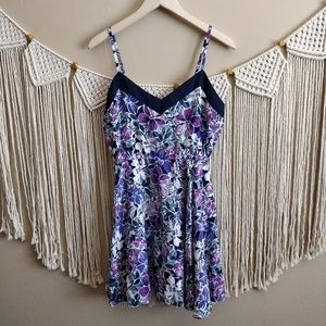 NWT Aeropostale Purple Blue Floral Sun Dress L